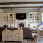 Family Room Wood Beams Built-in